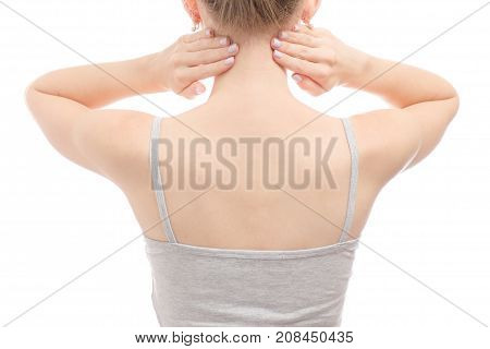 Female back of the hand holding the head on a white background isolation
