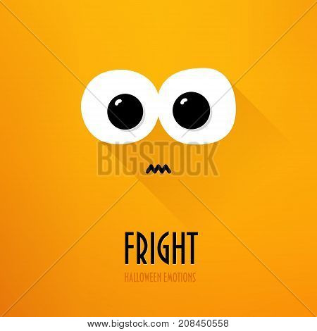 Happy Halloween greeting card with big eyes and fright emotion on orange background. Flat design. Vector.