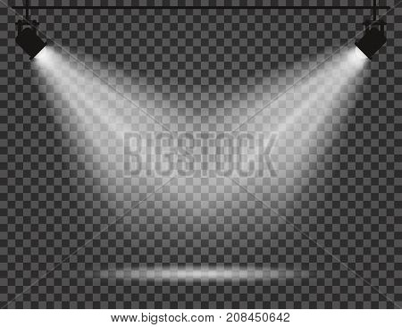 Spotlights With Light Beams On Transparent Background. Realistic Spotlights For Theatre, Photo Studi