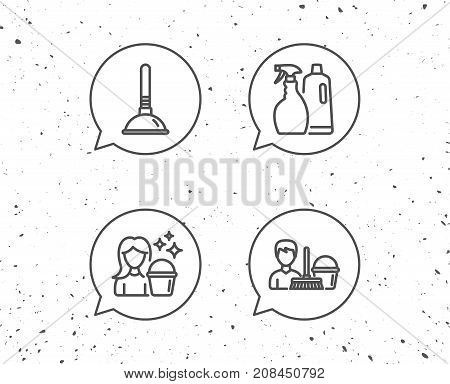 Cleaning Services, Spray And Plunger Icons.