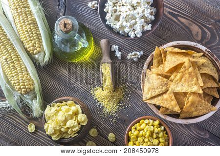 Variation of maize products on the wooden background