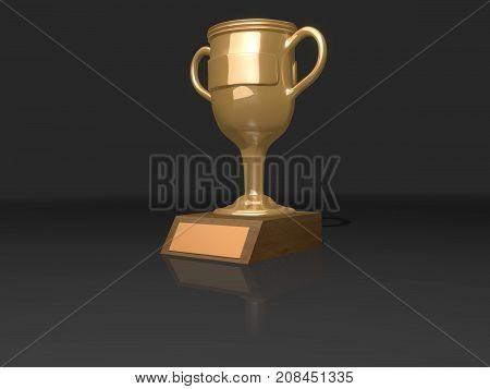 Golden ceramic / metal trophy cup 3D render.