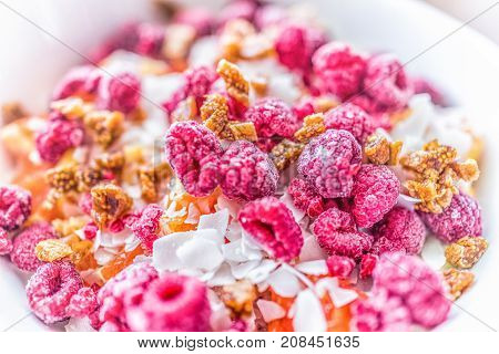 Macro closeup of bright pink raspberries in bowl with chopped figs and fruit as breakfast healthy vegan salad with coconut flakes