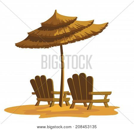Summer vacation beach resting chairs and umbrella