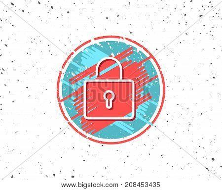 Lock Line Icon. Private Locker Sign.