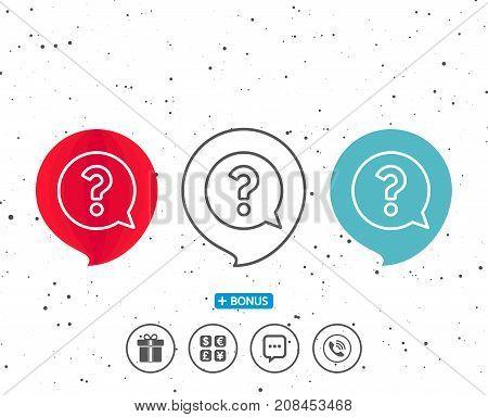 Question Mark Line Icon. Help Speech Bubble.