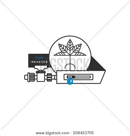 Drip irrigation. Linear icons. Drip tape, starter tap, plant. Vector illustration.