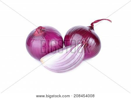 whole and cut fresh shallot or red onion on white background