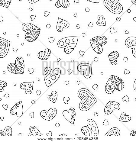 Uncolored Seamless Pattern of Contouring Hearts. Black and White Contour Hand Drawing Continued Background Hearts for Page of Coloring Book.