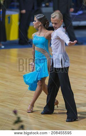 Minsk Belarus-October 7 2017: Unidentified Dance Couple Performs Youth-2 Latin-American Program on WDSF International Capital Cup MinskOctober 72017 MinskBelarus