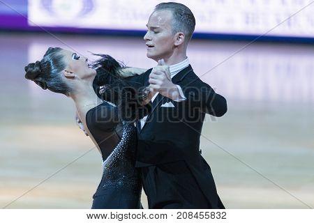 Minsk Belarus-October 7 2017: Unidentified Dance Couple Performs Adults European Standard Program on WDSF International Capital Cup Minsk- 2017 in October 7 2017 in Minsk Belarus.