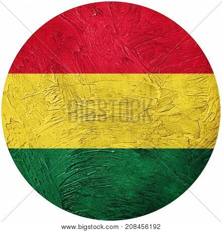 Grunge Bolivia Flag. Bolivian Button Flag Isolated On White Background