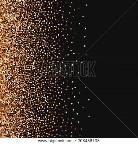 Red Round Gold Glitter. Scatter Left Gradient With Red Round Gold Glitter On Black Background. Appea