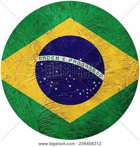 Grunge Brasil Flag. Brazilian Button Flag Isolated On White Background