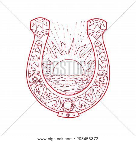 Drawing sketch style illustration of a Good Luck Horseshoe framing a rising Sun and ocean Sea with decoration inside on isolated background.