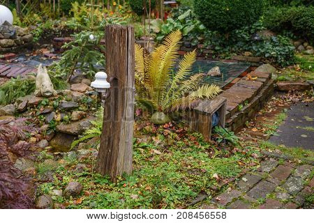 oak Pillar in the garden yard decoration