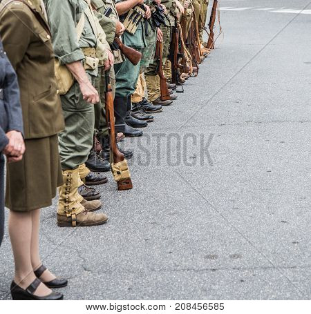 Military parade with World War II uniforms