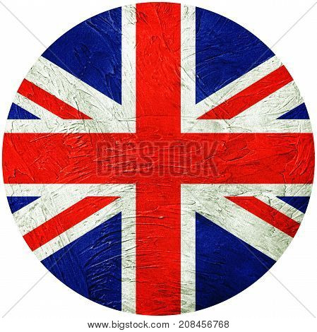 Grunge Great Britain Flag. Union Jack Button Flag Isolated On White Background