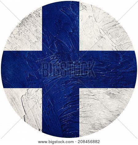 Grunge Finland Flag. Finland Button Flag Isolated On White Background