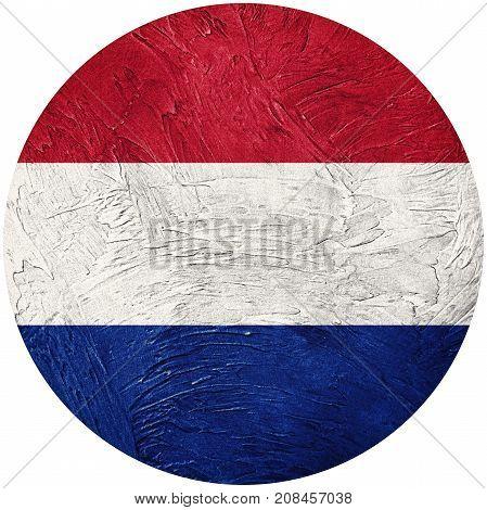 Grunge Nederland Flag. Nederlands Button Flag Isolated On White Background