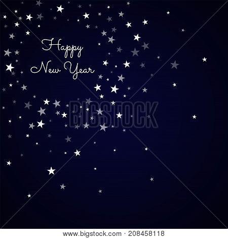 Happy New Year Greeting Card. Random Falling Stars Background. Random Falling Stars On Deep Blue Bac