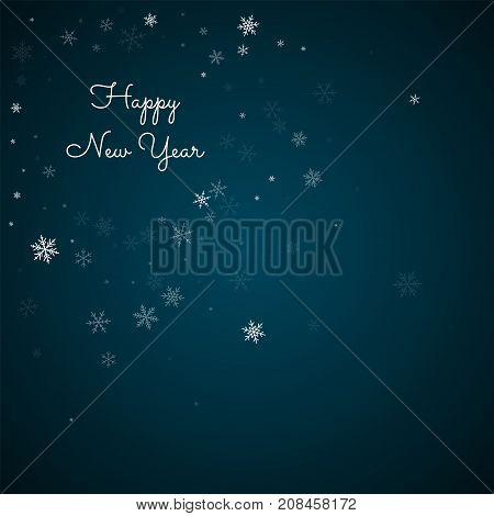 Happy New Year Greeting Card. Sparse Snowfall Background. Sparse Snowfall On Blue Background. Beauti