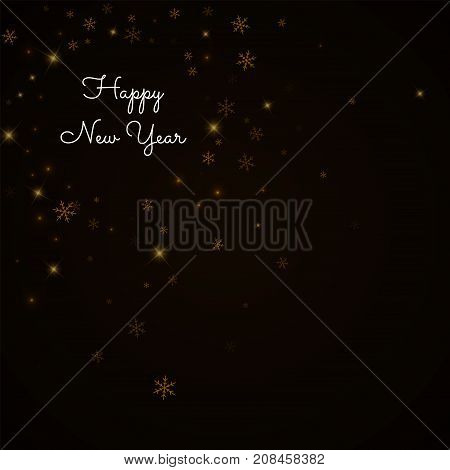Happy New Year Greeting Card. Sparse Starry Snow Background. Sparse Starry Snow On Brown Background.
