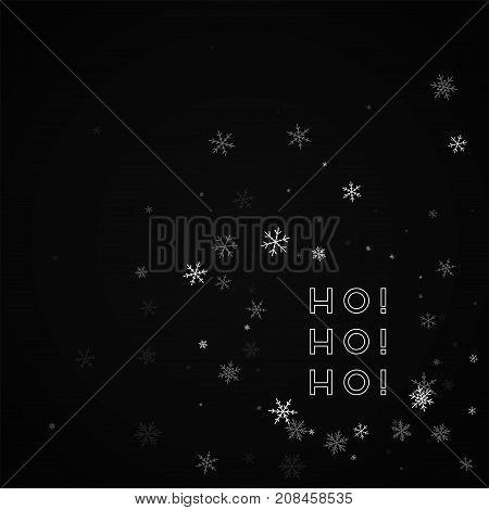Ho-ho-ho Greeting Card. Sparse Snowfall Background. Sparse Snowfall On Black Background. Awesome Vec