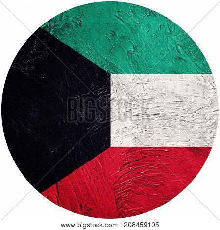 Grunge Kuwait Flag. Kuwait Button Flag Isolated On White Background