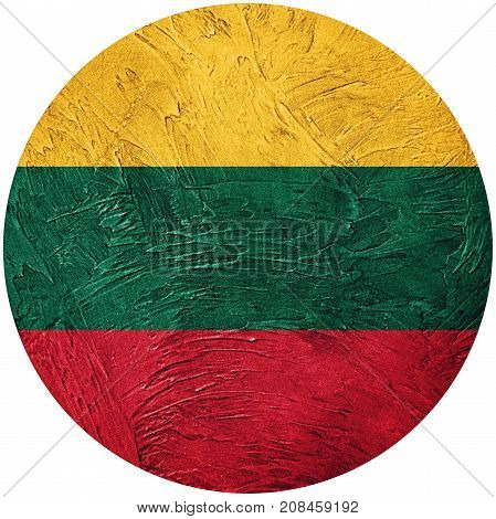 Grunge Lithuania Flag. Lithuanian Button Flag Isolated On White Background