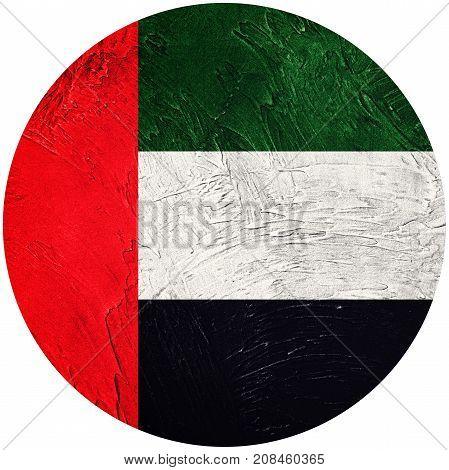 Grunge Uae Flag. United Arab Emirates Button Flag Isolated On White Background