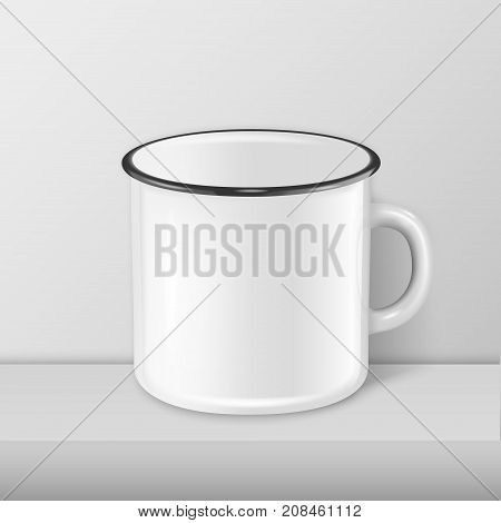Vector realistic enamel metal white mug closeup standing on white table. Design template, mockup for branding and advertise. Stock vector illustration, eps10.