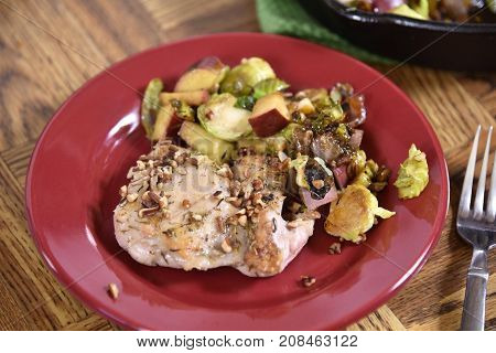 Chicken With Apples, Brussels And Pecans