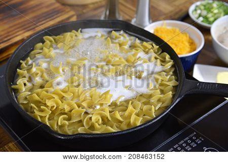 Egg Noodles Boiling
