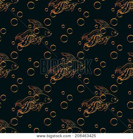 Seamless pattern with goldfish and bubbles on a dark background. Vector swatch