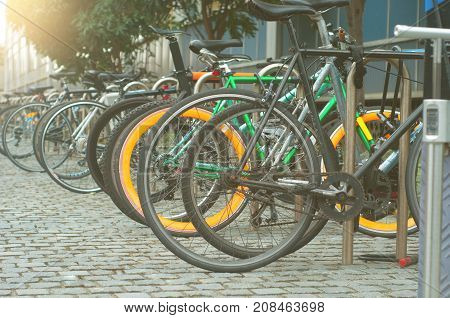 Parking for Bicycles in University with steel bars to lock bikes to.
