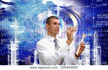 Industrial technology. engineer designer. manufacturing designing.Industry concept