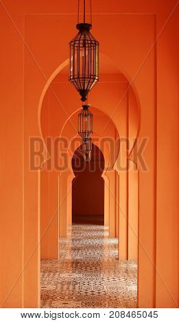 Entry arch in architecture morocco style with lamp