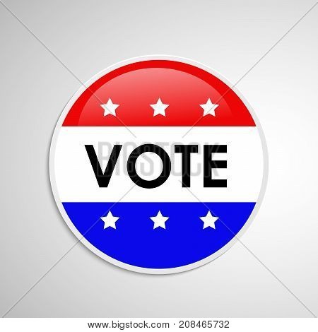 illustration of button in USA flag background with vote text on the occasion of election day