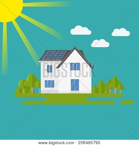 Clean modern house with solar panels. Eco friendly alternative energy. Ecosystem infographics. Flat vector illustration.
