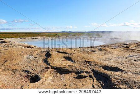 Steaming Fountain in a geothermal area in southwest Iceland. Geothermal features