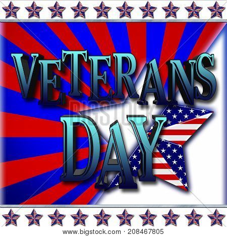Veterans Day, 3D, Honoring all who served, American holiday template.