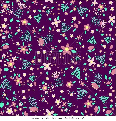 trendy seamless pattern with abstract flowers and leaves, design for children or spring floral decoration
