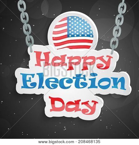 illustration of stamp in USA flag background with Happy Election Day text on the occasion of election day