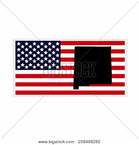 Map of the U.S. state of New Mexico. American flag