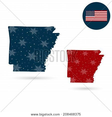 Map of the U.S. state of Arkansas. Merry christmas and a happy new year