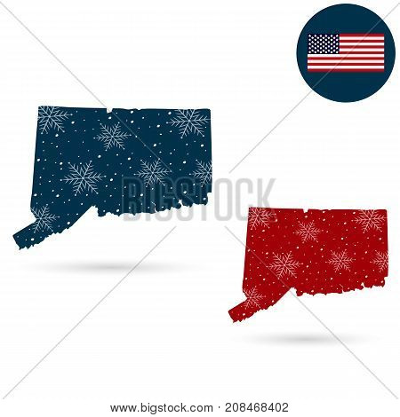 Map of the U.S. state of Connecticut. Merry christmas and a happy new year