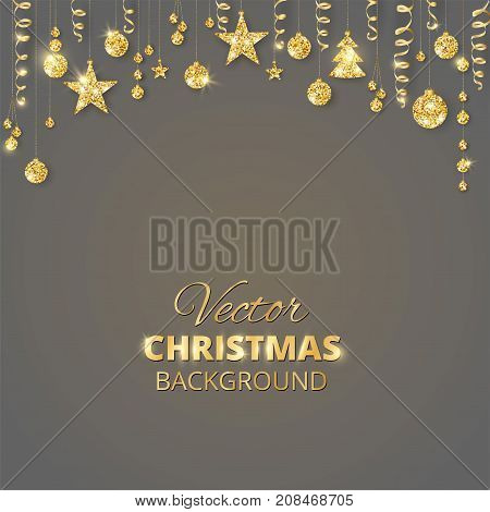 Holiday background with sparkling Christmas glitter ornaments. Golden fiesta border. Festive garland with hanging balls and ribbons. Great for Christmas and New year party posters, cards, headers.