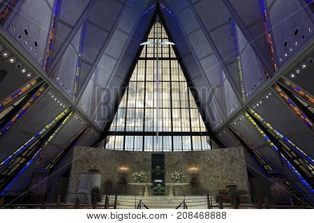 US Air Force Academy, Colorado - Sep 22, 2017: The interior view of the famous Cadet Chapel