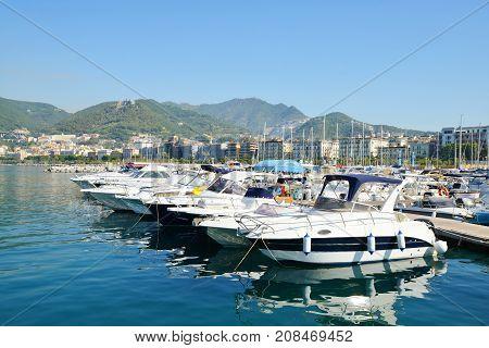Salerno, Italy - July 6, 2017: Marina in city Salerno.Campania region, Italy